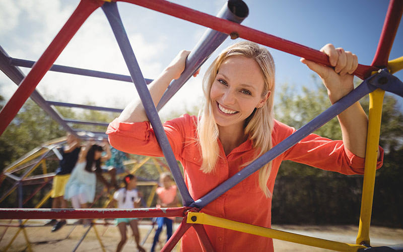 Teacher in playground