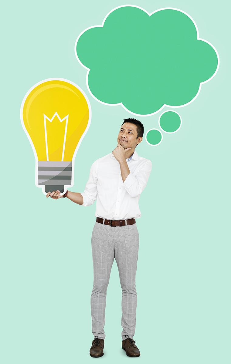 Holding a light bulb, idea