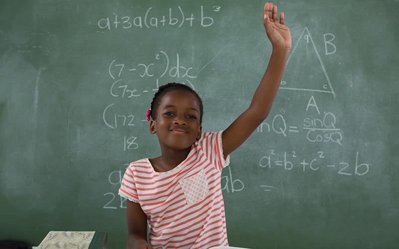 Raising hand in math class