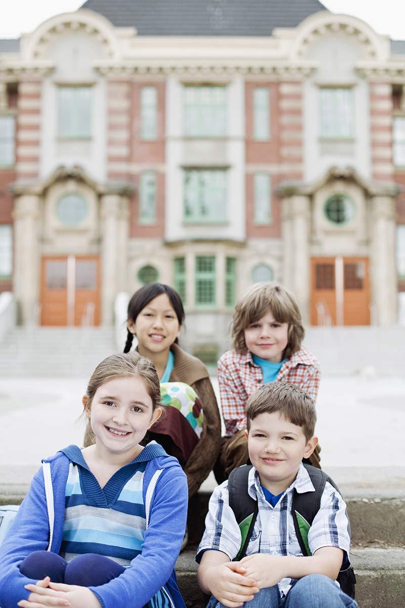 Kids in front of school