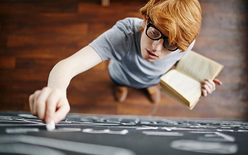 Student using board