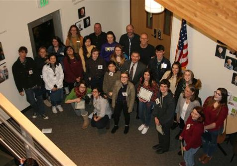 Photographed:  Superintendent Greg Lynch with Students who participated in the Art Show Reception